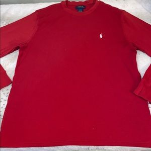 POLO RALPH LAUREN RED WAFFLE KNIT LONG SLEEVE